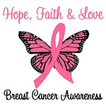 Hope, Faith & Love Breast Cancer T-Shirts & Gifts