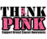 Think Pink Breast Cancer Grunge T-Shirts