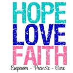 Hope, Love & Faith Thyroid Cancer Shirts