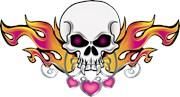 Flaming Skull and Hearts