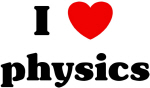 I love (heart) physics t-shirts, stickers and clothing.