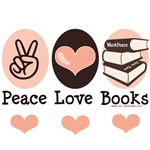 Our Peace Love Books design featuring a stack of literary classics like War and Peace and Jane Eyre make the perfect librarian, bibliophile, writer, novelist, English literature teacher or professor gift for anyone who loves to read.