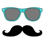 Mustache and Sunglasses | Teal