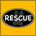 Rescue Paw Black Oval