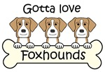 Three American Foxhounds (Tan)