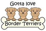 Three Wheaten Border Terriers