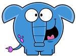Cartoon Blue Elephant