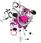 pink gothic skull and anchor vector art