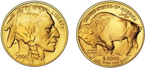 Both Sides of 2006 Gold Indian/Buffalo on White