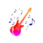 red purple guitar with blue notes