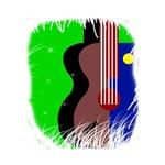 abstract guitar green blue musical instrument