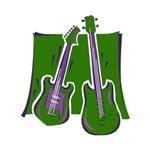 green guitar n bass music instrument
