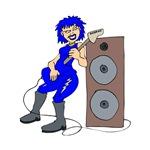 punk guitar girl blue musician