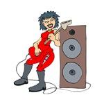 punk guitarist female red