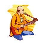 bald singing guitar player orange shirt music