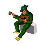 sitting guitarist musician green