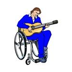 wheelchair guitar player blue