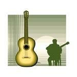 sitting guitar player yellow guitar