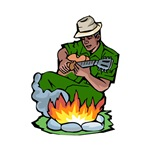 blues guitar player by fire green