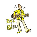 rock n roll guy playing guitar yellow