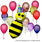 Cute bee with birthday hat and colorful balloons.