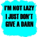 I'M NOT LAZY- I JUST DON'T GIVE A DARN