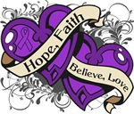 Pancreatic Cancer Hope Faith Dual Hearts Shirts
