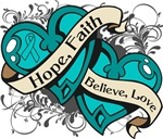 Ovarian Cancer Hope Faith Dual  Hearts Shirts
