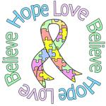 Hope Love Believe Pastel Autism Shirts & Gifts