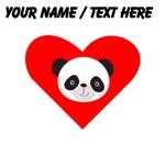 Custom Panda Face Heart