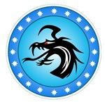 Blue Round Dragon Icon