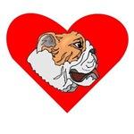 Bulldog Face Heart