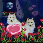 AMERICAN ESKIMO DOG Valentine be mine hearts