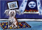 CHINESE CRESTED DOG smiling moon dog art