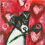 Rat Terrier Valentine rose