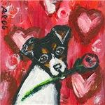 Rat Terrier Valentine rose