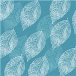 Aqua with White Leaves