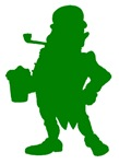 Green Leprechaun With Beer Silhouette