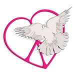Peace Heart Dove ~ A white dove in flight over a peace heart symbol in bright pink.