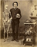 Edgar Allan Poe Victorian with Skeleton  Skull
