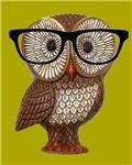 Hipster Owl Kawaii Kitsch Wearing Eyeglasses Nerd
