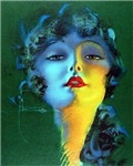 Flapper Art Deco Woman on Green Roaring 20s