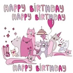 Cartoon Cats Happy Birthday