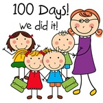 Kids and Female Teacher 100 Days