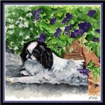 Japanese Chin Puppy & Petunias Painting Gifts Item