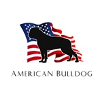 American Bulldog Silhouette with Flag