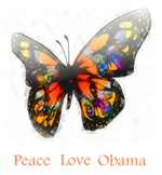 Peace Love Obama Butterfly