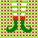 Christmas Elf's Feet on Red Green