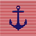 Navy Blue Anchor Striped