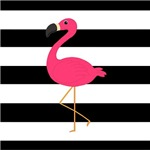 Pink Flamingo on Black and White